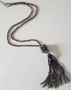 Long Iridescent Purple Crystal Tassle Necklace